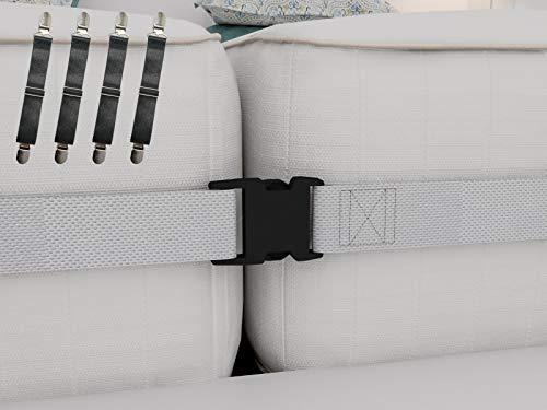 Verbindungs-Set für Doppelbett bis King-Size-Betten, 5 cm breiter Matratzen-Gurt und 4 verstellbare Bettlaken-Befestigungen - perfekte Lösung für Zwillinge Matratzen und Bettlaken - Nachricht Matratze