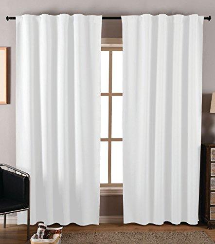 2er Pack Verdunkelungsvorhänge Gardinen mit verdeckten Schlaufen matt Uni Farbe, Weiß, HxB 245x135 cm Blickdicht Blackout Vorhang, 206202