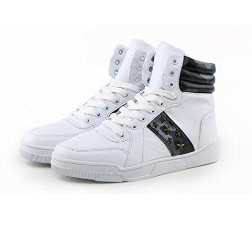 WZG Männer hohe Tarnung Schuhe Studenten Freizeitschuhe Sportschuhe Männern zu helfen, Schuhe atmungsaktiv Spitze Schuhe , white , 42