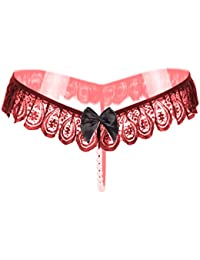 Psychovest Women's Sexy Lace G String Panty with Pearls Back Transparent Panties Free Size (Maroon, P4008-PS2)