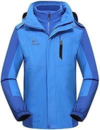 WE&ZHEPareja de modelos suave concha chalecos esquí chaqueta 3 en 1 dos piezas otoño e invierno espesa además de terciopelo impermeable montañismo de aislamiento a prueba de viento chaqueta , light blue , xxxl