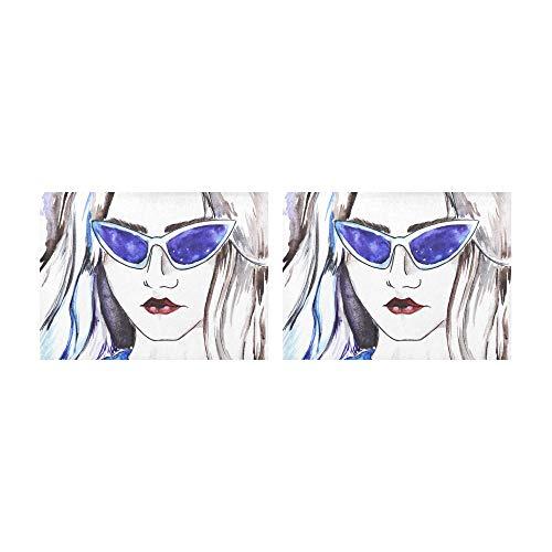 SHAOKAO Tischsets Schöne Frau mit Sonnenbrille Tischsets 2er-Set rutschfeste waschbare Kaffeematten Hitzebeständige Küchentischsets Für den Esstisch Indoor Outdoor14 X 19