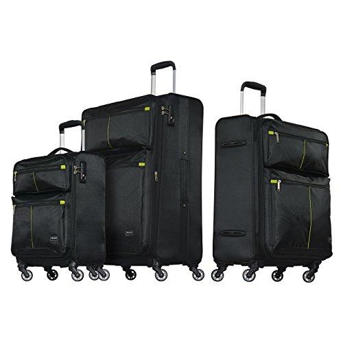 Probeetle impress vi set di 3 bagagli leggeri | pacco 3 cabina, taglia media e grande da viaggio | in tessuto soffice | 4 ruote 360° silenziose | lucchetto tsa e impugnatura telescopica ergonomica
