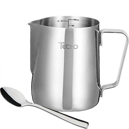 Lattiera techo, bricco per latte in acciaio inox 600ml/20oz, brocca montalatte misuratore con cucchiaio per latte art