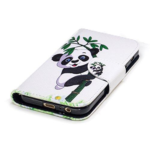 Samsung Galaxy A3 (2017) (4.7 pouce) Coque , PU Cuir Étui Protection Wallet Housse la Haute Qualité Pochette Anti-rayures Couverture Bumper Magnétique Antichoc Case Anfire Cover pour Samsung Galaxy A3 Panda et Bambou