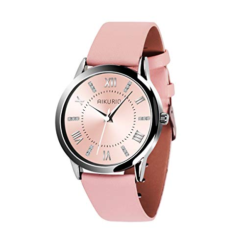 AIKURIO Damen Armbanduhr Analog Quarz 30M Wasserdicht mit Lederband Crystal Dial AKR001