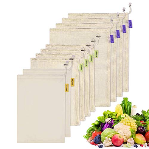 Kyerivs Bio-Baumwoll-Mesh-Reusabl Zero Waste Plastikfrei biologisch abbaubar Beutel für Obst und Gemüse, 10 Stück (4 l, 4 m, 2 m), Stoff Mesh 10