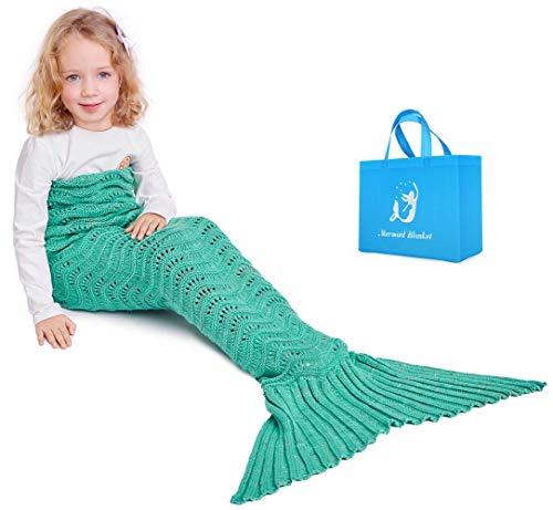 Mermaid Schwanz Strickdecke für Kinder, Häkeln Meerjungfrau Schwanz Decke Gestrickte Schlafsack, All Seasons Fischschwanz Decken Sofa Quilt (Grün - 1)