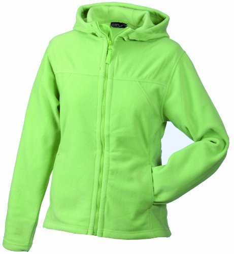James & Nicholson Damen Girly Microfleece Jacket Hooded Jacke, grün Lime-Green), 36 (Herstellergröße: M) -
