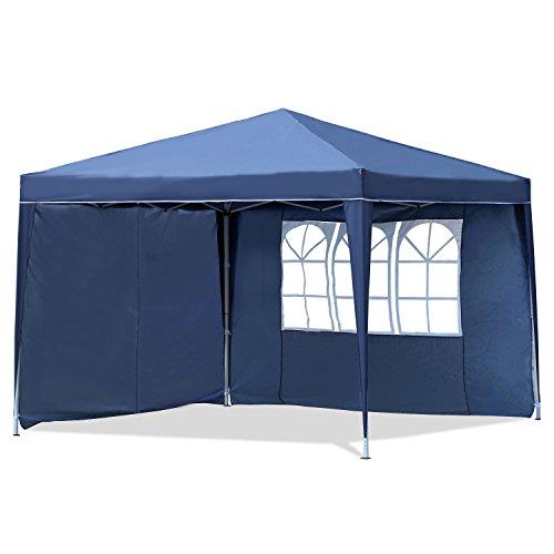 Sekey 3x3m gazebo, tenda da giardino pieghevole/retrattile,blu,modello ischia, con due pareti laterali