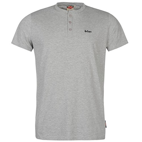 Lee Cooper Essential Herren T Shirt Kurzarm Rundhals Knopfleiste Baumwolle Grau Meliert