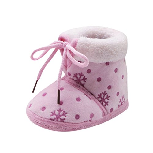 JYJM Toddler Newborn Christmas Baby Snow Print Soft Sole Boots Prewalker Warm Shoes (Größe: 12, Rosa) (Schaffell Booties)