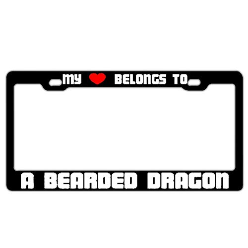 WEERQ My Heart Belongs to A Bearded Dragon Black Decorative License Plate Frame License Plate Frame Humor Car Tag Cover 2 Screws -