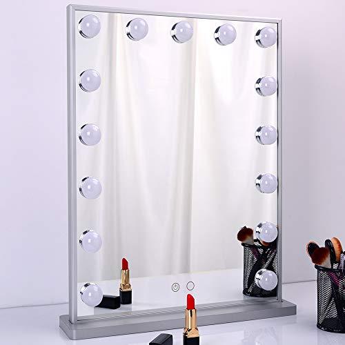 WONSTART Espejo de vanidad de Maquillaje con Luces, Espejo con Luces LED Ajustables de 15 Piezas, apósito...