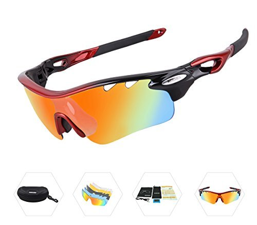 02c3b1b49f2 AOKNES Polarized Sports Sunglasses with 5 Interchangeable Lenses for Men  Women Cycling Baseball Running Fishing Driving
