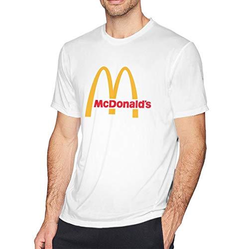 Herren Sommer T-Shirt McDonalds Logo T Shirt Casual Shirts for Men Big Boys Short-Sleeve Round Neck Baumwolle Sport Tops Weiß M - Jesus Youth Sweatshirt