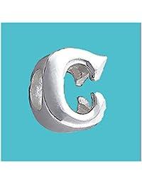 Plateado con cuentas de letra C auténtica sólido puro 925con sello plata de ley Bead Charm letra inicial alfabeto para Europea Pulsera y cadenas–3d cinta para el/off–por Silvadore