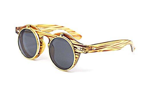 Ultra® Holzrahmen Effekt hochklappen Kreis Steampunk hochwertige Schutzbrille Brille Retro Runde Cyber UV400 Sonnenbrille (Dunkles Grün Korsett)