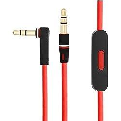 Câble de remplacement avec commande vocale pour casque audio Monster Beats by Dr.Dre, cordon d'extension avec prise jack HD coudée, contrôle du volume, lecture/pause, piste suivante, compatible pour iPhone/iPad/iPod