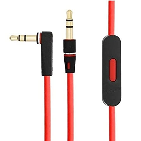 Replacement Studio Headphone Cable Wire With Control Talk For Monster Beats Dr. Dre Extension Cord aux auxiliary cable for solo pro solo HD mixr earphones L-Shape Jack Volume control play/pause skip track, iphone/ipad/ipod compatible (UK Dispatch)