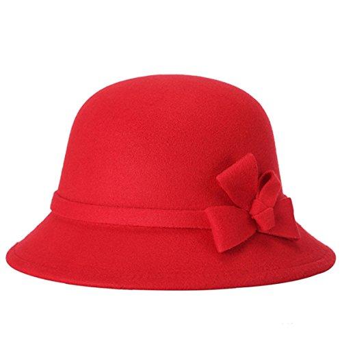 Automne Mme Coréenne Et De La Mode D'hiver Laine Chapeau Chaud Froid Topper red