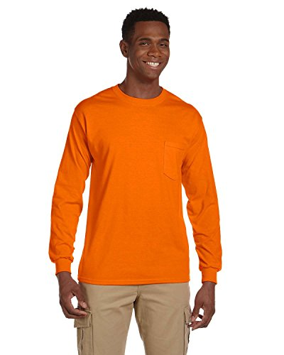 Gildan 2410Ultra Cotton Long Sleeve Pocket T–Shirt Gr. XXX-Large, Safety Orange (Gildan T-shirts Pocket)