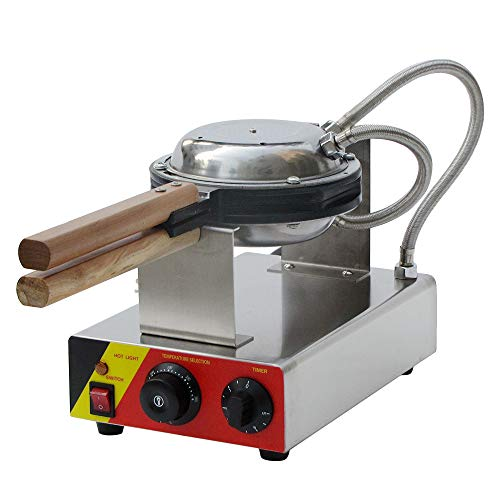 MaquiGra Eléctrica Profesional Waffles Gofrera Máquina para GofresMolde de Huevo Tarta Olla de HuevoAcero Inoxidable Antiadherente Temperatura Ajustable con Temporizador Rotación de 180°1000W 220V