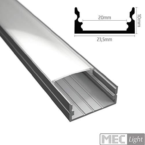 Aluminium Profil Leiste für Led Streifen WIDE-20 in silber eloxiert extra breite Bauweise inklusive Abdeckung/Endkappen und Halterungen optional erhältlich (2m Profil WIDE 20) Wide Led