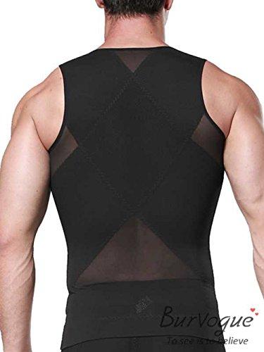Burvogue Herren Schlankmachend Body Shaper Netz Kompressionsweste mit Hüftgürtel Hemd Schwarz 1