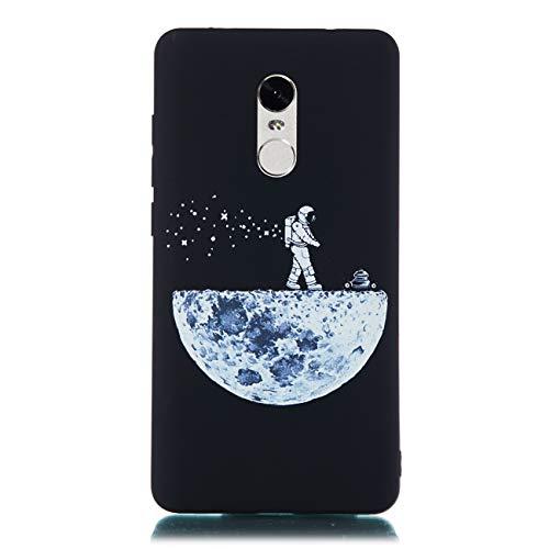 Chreey Hülle für Xiaomi Redmi Note 4 / Note 4X, Anti-kratzt Schwarz 3D Drucken Muster Handyhülle Weiche Silikon TPU Rückseitehülle Bumper Schutzhülle, Pilot & Mond