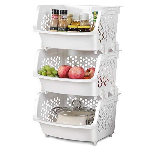 AJ 3-Story bastidores de Cocina Cocina de Frutas y Vegetales armarios de Esquina Corner Shelf Storage Basket Caja de Almacenamiento de plástico Carretilla de Almacenamiento, Grande, AJ9002W + 3