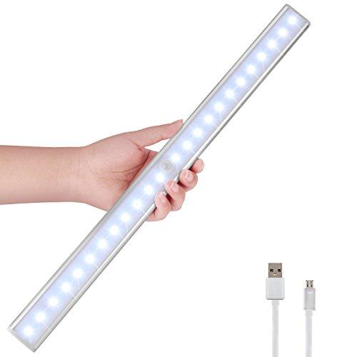 Bewegungsmelder LED Nachtlichter, 24 LED Schrankbeleuchtung USB Nachladbares Schranklicht beweglicher PIR Bewegungs Sensor Licht Stab mit magnetischem Streifen, Schrank Kleiderschrank Treppe (Bewegungs-sensor-led-streifen)
