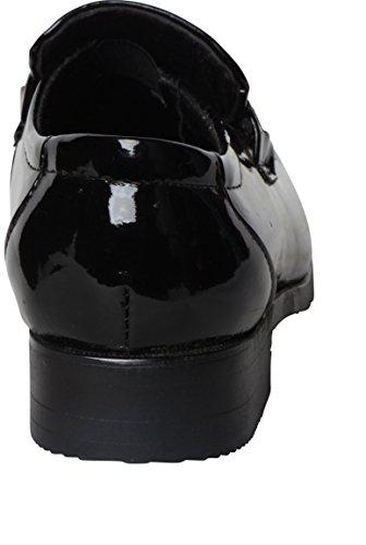 schwarze Kinderschuhe runde Zehe-Zeremonie Glossy Black