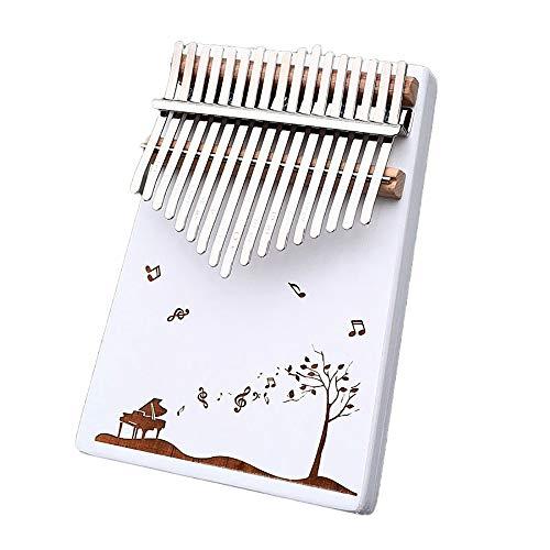 SSeir Weiß 17 Tasten Finger Klavier, tragbar Daumen Klavier Musikinstrument mit Studienunterricht und Stimmhammer, für Kinder Erwachsene Anfänger,9