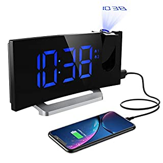 Projection Alarm Clock, Mpow Digital Radio Alarm Clock with Dual Alarms, Adjustable Brightness for Screen and Projection, 4 Alarm Sounds, 9-Minute Snooze Function, Sleep Timer and FM Radio