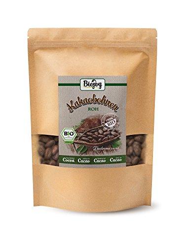 Biojoy Granos de Cacao crudos BÍO | Cacao crudo ecologico | granos enteros crudos naturales | sabor auténtico de cacao | perfectos como granos de cacao o cacao en polvo | Theobroma cacao (1 kg)