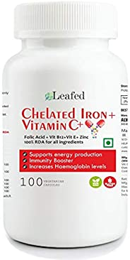 Leafed Chelated Iron with Folic Acid, Zinc, Vitamin C, E & B12 – 100 Vegetarian Caps