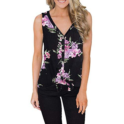 (IZZB Damen Bluse Tanktops Weste Frauen Top Oberteil Sommer Shirt V-Ausschnitt Blumenmuster Tasten Knoten Ärmellos Beiläufig Einfaches T-Shirt (Schwarz, M))
