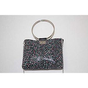 schwarze Handtasche gemustert Abendhandtasche Lederhandtasche Crossover mit Metallgriffen und Kette
