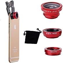 JVJ® Lentes 180 grado Ojo de Pez Fisheye + Gran Angular Wide Angle Lens + Macro Lens para iPhone 6 Plus 6 5 5S 4S 4 3GS Samsung GALAXY S2 I9100 S3 I9300 S4 I9500 S5 S6 Note I9220 Note2 N7100 Note3 i8190 HTC Nokia Sony