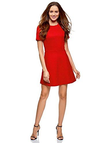 oodji Ultra Damen Kurzärmliges Jacquard-Kleid, Rot, DE 32 / EU 34 / ()