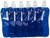 Juvale Bottiglia d' Acqua Pieghevole-6-Pack 453,6Gram Pieghevole Senza BPA Borraccia borracce con moschettone per Viaggi, Blu