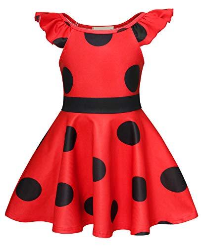 AmzBarley Miraculous Ladybug Kostüm Kleid Kinder Mädchen Marienkäfer Cosplay Kleider Schick Party Ankleiden Halloween Karneval Geburtstag Kleidung, Rot 03, 5-6 Jahre