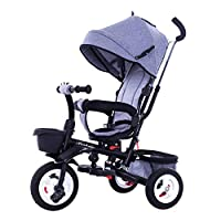 QXMEI 4 In 1 Childrens Folding Tricycle 1 To 6 Years Rear Wheel With Brake Childrens Tricycles Detachable And Adjustable Push Handle 2-Point Safety Belt Child Trike Maximum Weight 25 Kg,Gray