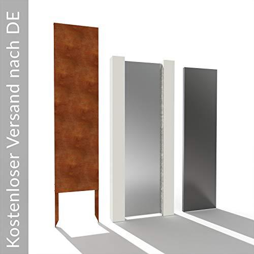 Sichtschutzwand ohne Motiv Sichtschutz Roststele Stahl Edelstahl ca. H: 190 cm x B: 50 cm Gartendeko Sichtschutzelement Deko Gartensichtschutz Edelstahl
