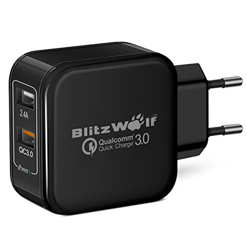 [Quick Charge 3.0] USB Ladegerät, BlitzWolf 30W 2-Port Netzteil Ladeadapter Ladestecker mit QC 3.0 Schnelle Ladefunktion & 2.4A Power3S Technologie, Wall Charger Reiseadapter für Handy, Smartphone, iPad, Kamera, MP5 / MP4 Tablet usw. - Schwarz (Dual-port-wand)