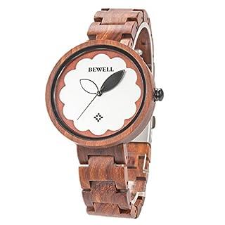 RUNACC Damen Holz Uhr Vintage Quarzuhren Stilvolle Armbanduhr mit Faltschließe (ROT)