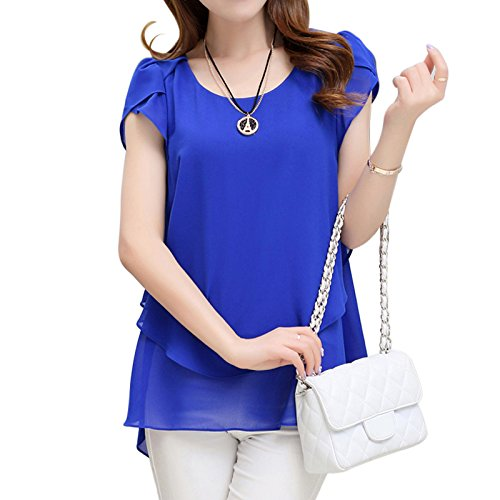 Bold N Elegant Loose Comfortable Layered Chiffon Maternity Top Short Sleeve Casual Top Plus Size Chiffon Blouse Maternity Clothing Pregnancy Top (XL, Blue)