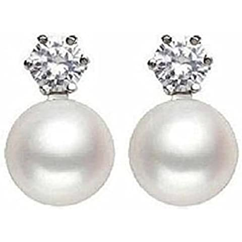 8-9MM perla e diamanti 925 Sterling Silver Stud colore bianco per le donne - Diamante Perla Stud