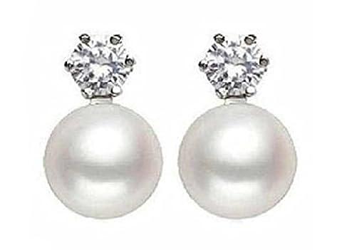 Süßwasser Perle Ohrringe mit Diamant 925 Sterling Silber Bolzen 8-9 mm Farbe Weiß